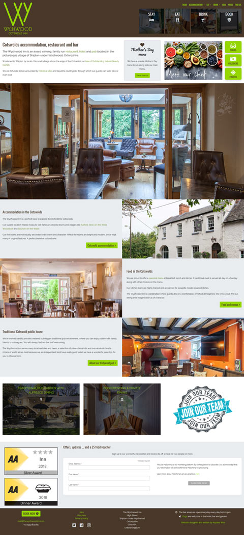 Hotel and restaurant website design