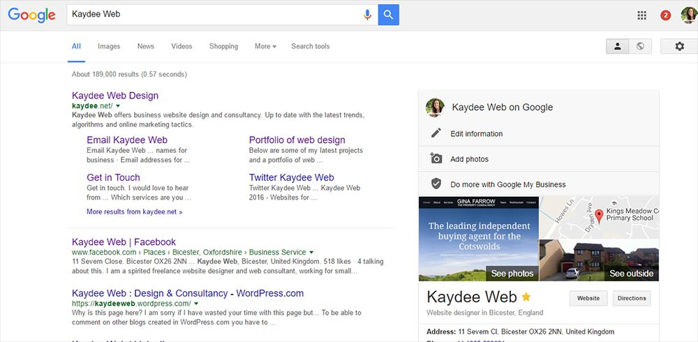 Google site links, Google results page