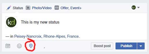 Location based Facebook status