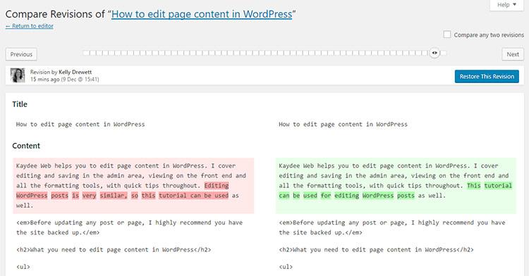 Compare revisions in WordPress