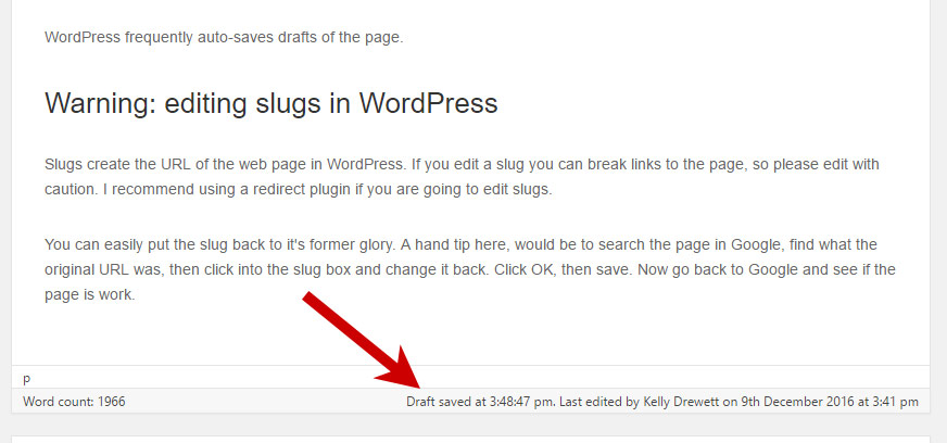 Latest draft saved in WordPress