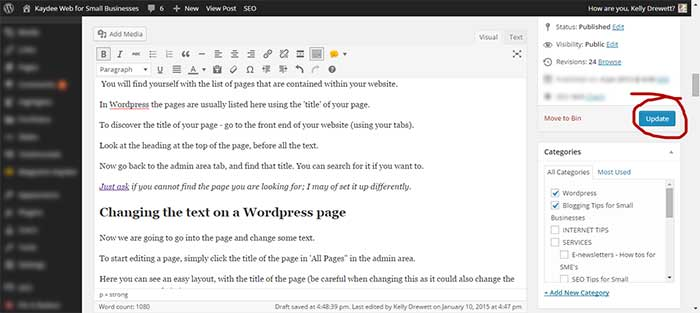 Updating and saving a WordPress page