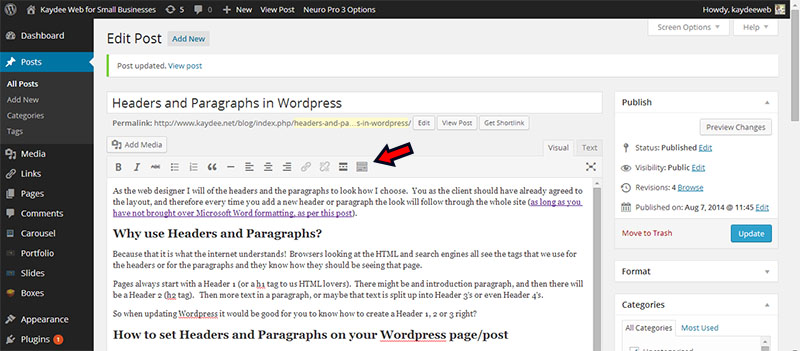 How to create headers and paragraphs in WordPress