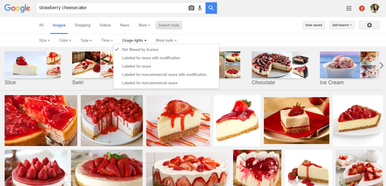 Google image search, labelled for reuse highlighted