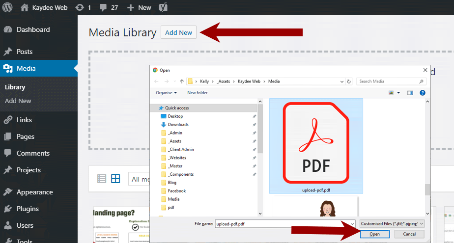 Upload PDF to WordPress - find the PDF
