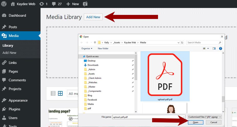 Upload PDF to WordPress - find the PDF