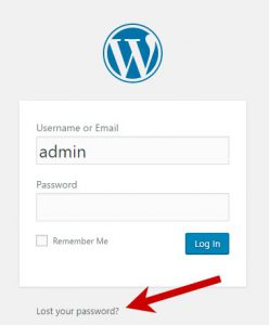 Lost WordPress password link