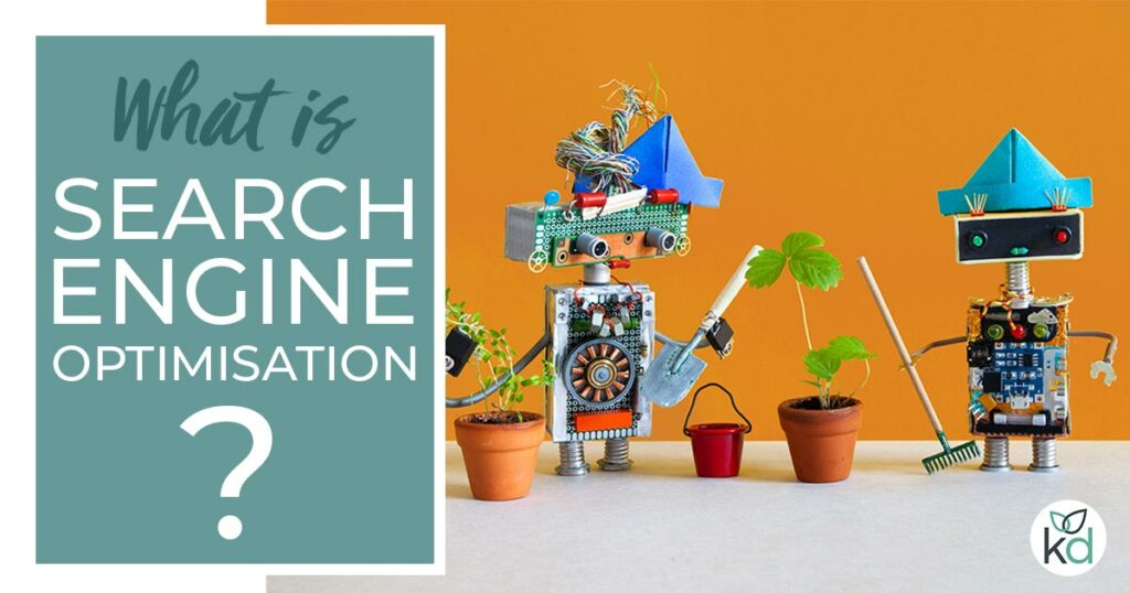 What is search engine optimisation? Two robots optimising their lives