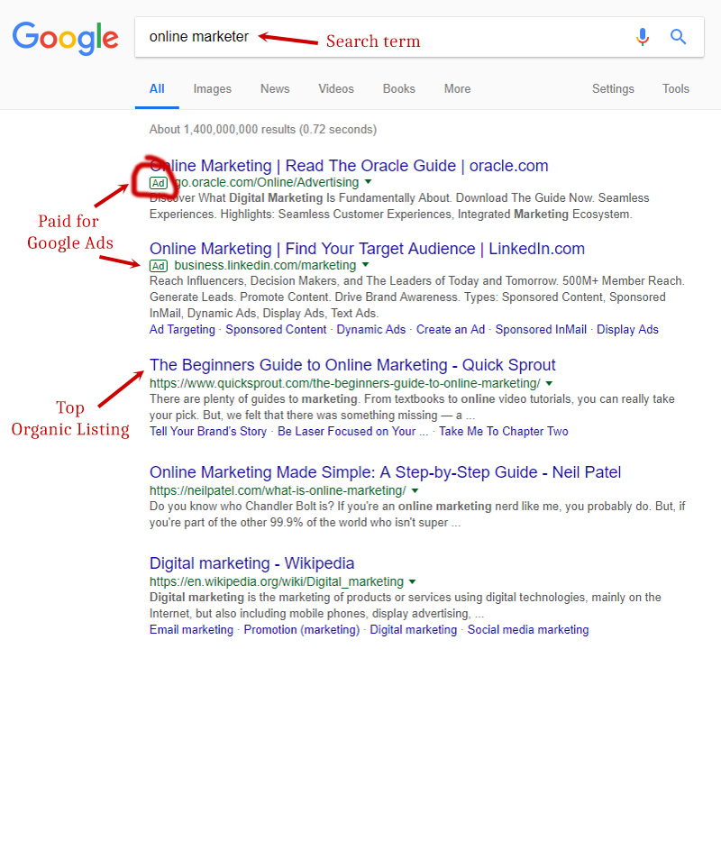 A search engine organic listing on Google