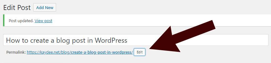 Edit the WordPress slug