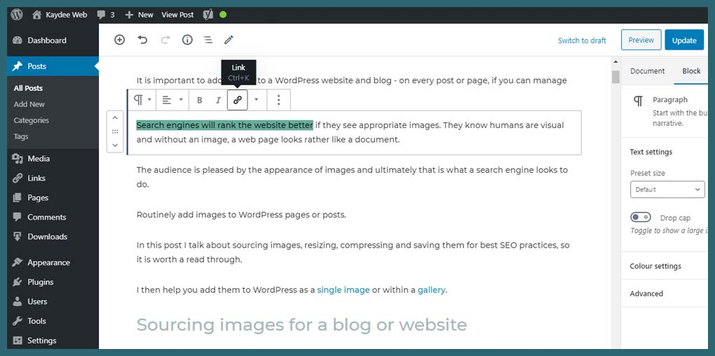 How to add a PDF to WordPress - text link