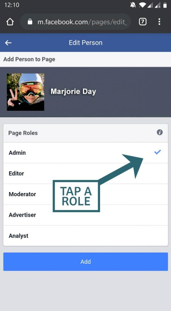 Add an administrator to a Facebook business page