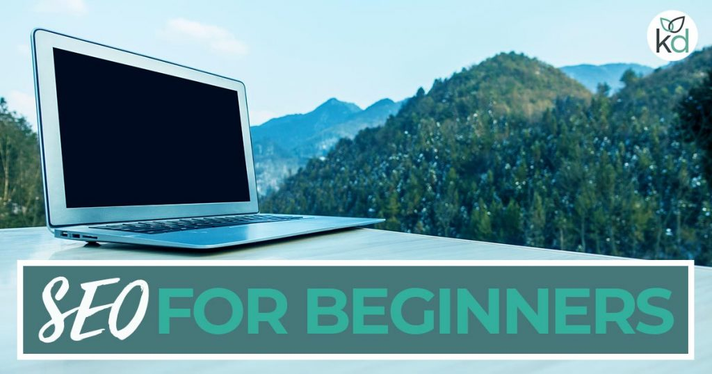 SEO for beginners - a laptop with mountains in the background