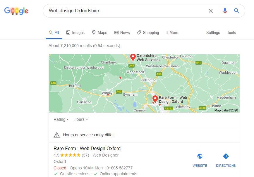 Google My Business - Google Maps display