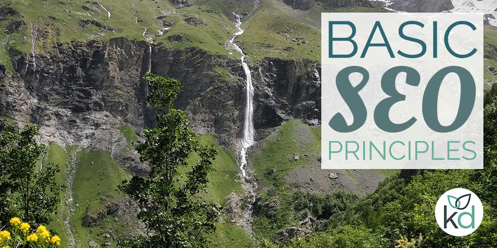 Basic SEO principles, waterfall and mountains in the background