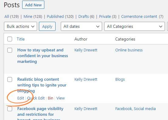 Click EDIT to edit a published WordPress post
