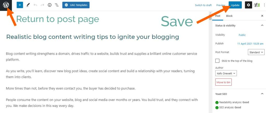 Save and update the WordPress published post