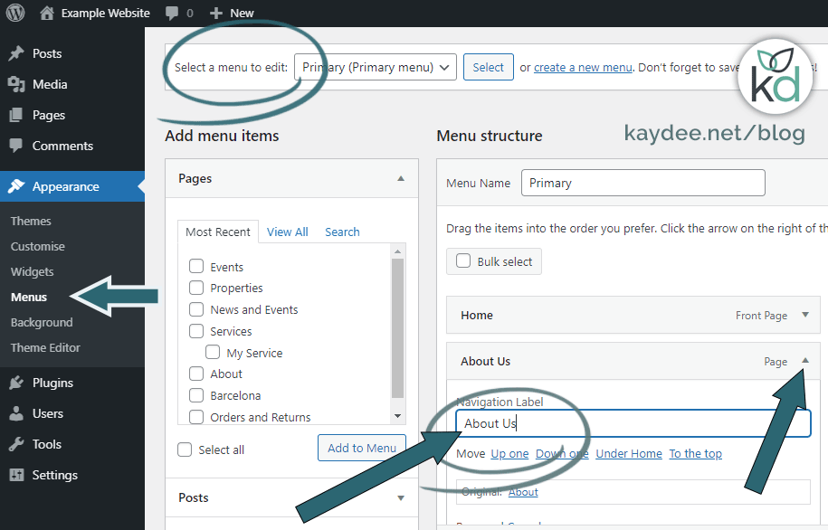 Edit the navigation label on a WordPress menu - no need for it to be the same as the page title.